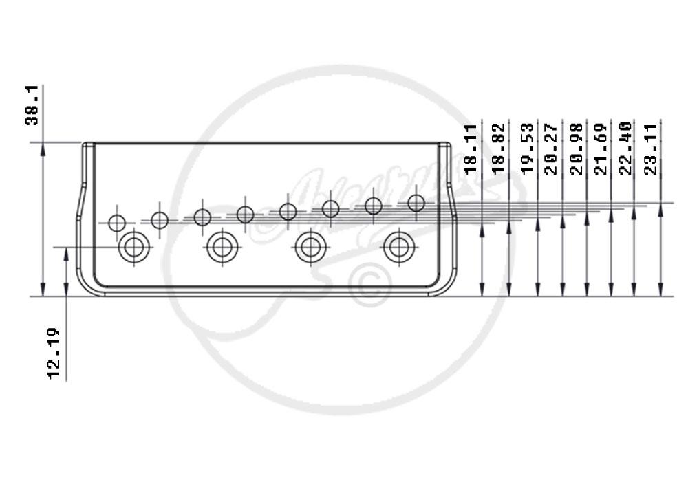 hipshot hardtail bridge - 8 string - chrome