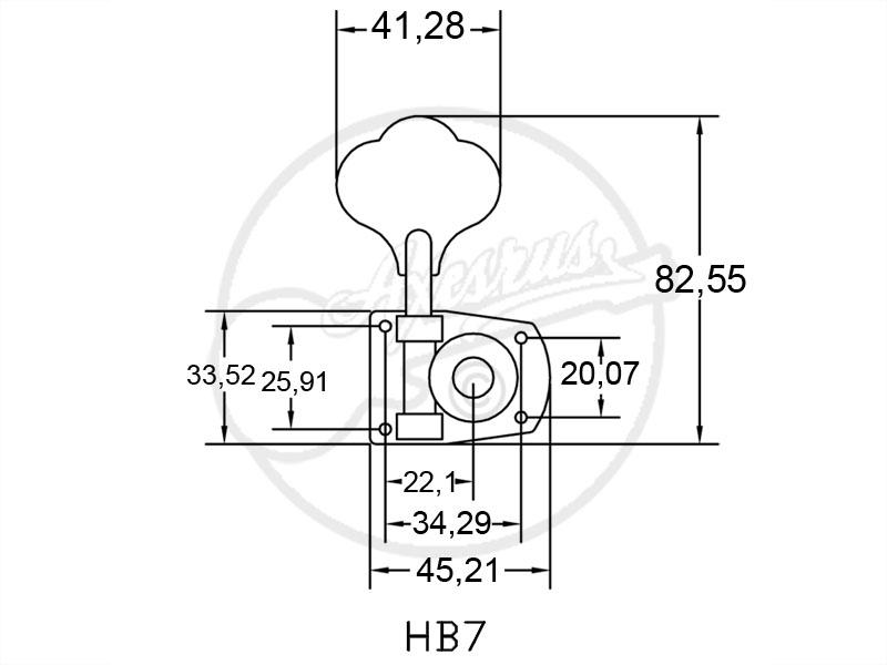 1 x hipshot hb-7 bass machine head