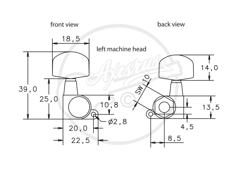 schaller m6 mini machine heads - locking